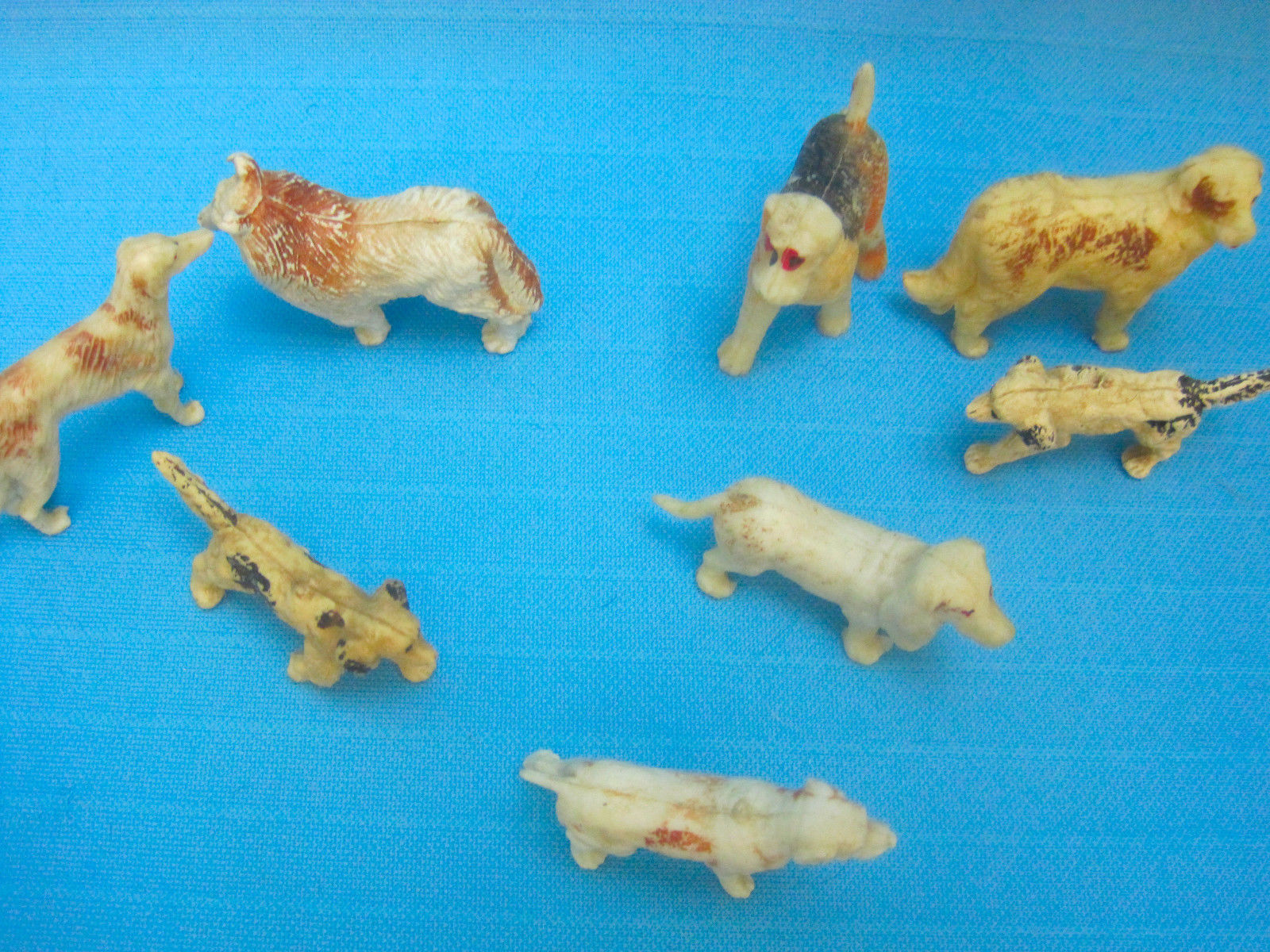 Dogs Vintage Toy Rubber Figurines Lot of 8 Breeds Collie Basset Hound Airedale +
