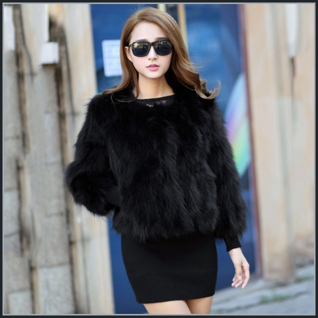 Black Natural Racoon Hair Fur Three Quarter Sleeved Short Coat Jacket W/ Pockets