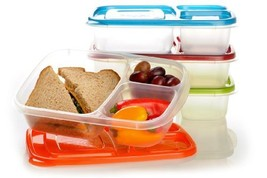 Boxe EasyLunchboxes 3Compartment Bento Lunch Box Containers Set of 4 Cla... - $20.76