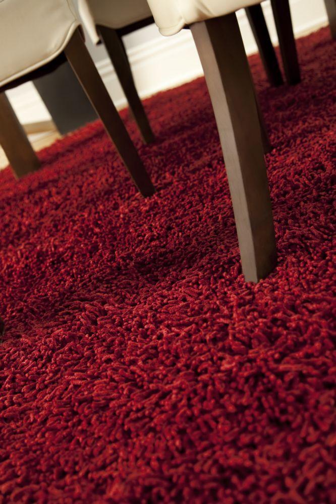 Silky Shag Crimson: 50 percent Cotton, 50 percent Bamboo Rayon 4ft. X 6ft.