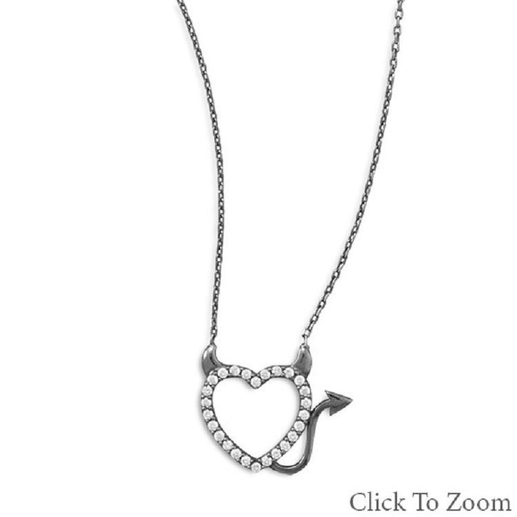Ruthenium Plated Sterling Silver Devilish Heart CZ Necklace great for Halloween