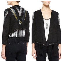 NWT $1195 Haute Hippie Suede Leather Fringe Beaded Sequin Embellished Ja... - $299.99