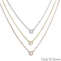 Graduated Tri Tone Gold Plated Sterling Silver Necklace with bezel set CZs