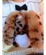 Cute Bunny iPhone 7 Case Leopard Print Rabbit Fur Real Furry iPhone 6s C... - $30.00+