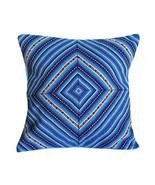 Blue PERUVIAN Cushion Cover, throw pillow, ethnic cushion, geometric boho decor - $24.45 - $59.59
