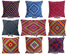 Rainbow PERUVIAN Cushion Cover, throw pillow, ethnic cushion, boho decor image 4