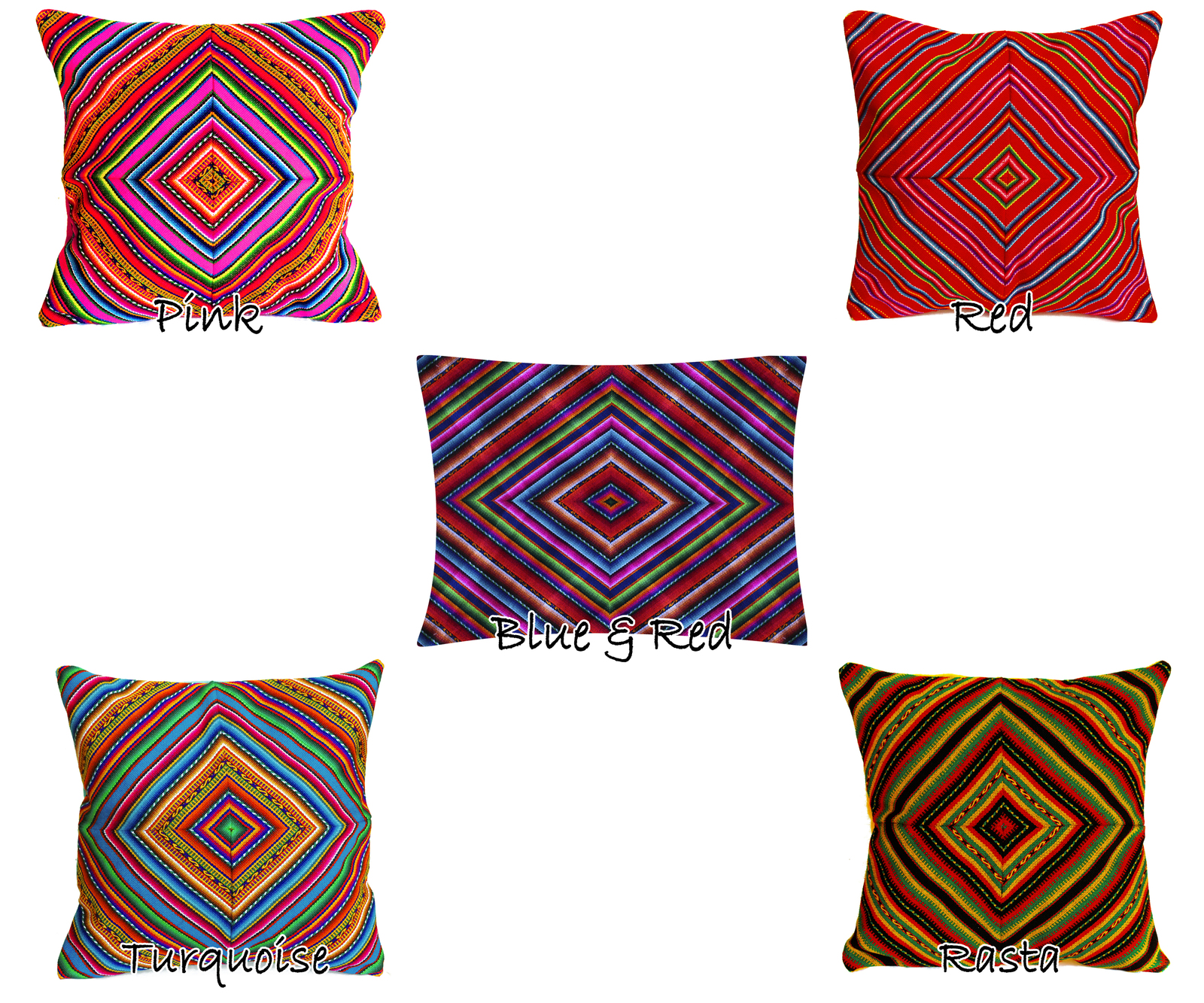 Rainbow PERUVIAN Cushion Cover, throw pillow, ethnic cushion, boho decor image 5