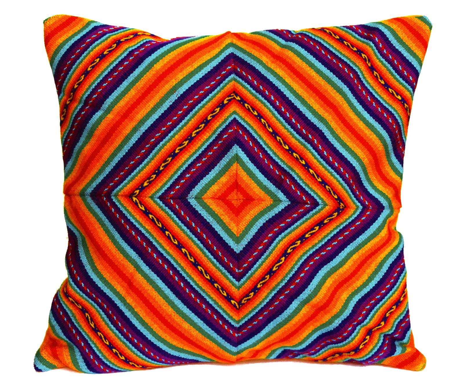Rainbow PERUVIAN Cushion Cover, throw pillow, ethnic cushion, boho decor