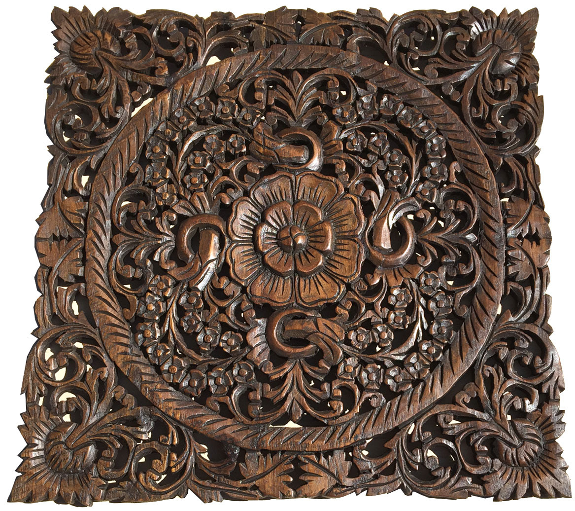 Carved Wood Wall Decor Oriental Floral Wood Wall Art
