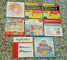 Lot of 8 Various Software CDs Digital Photos and Greeting Cards for Dummies - $10.00