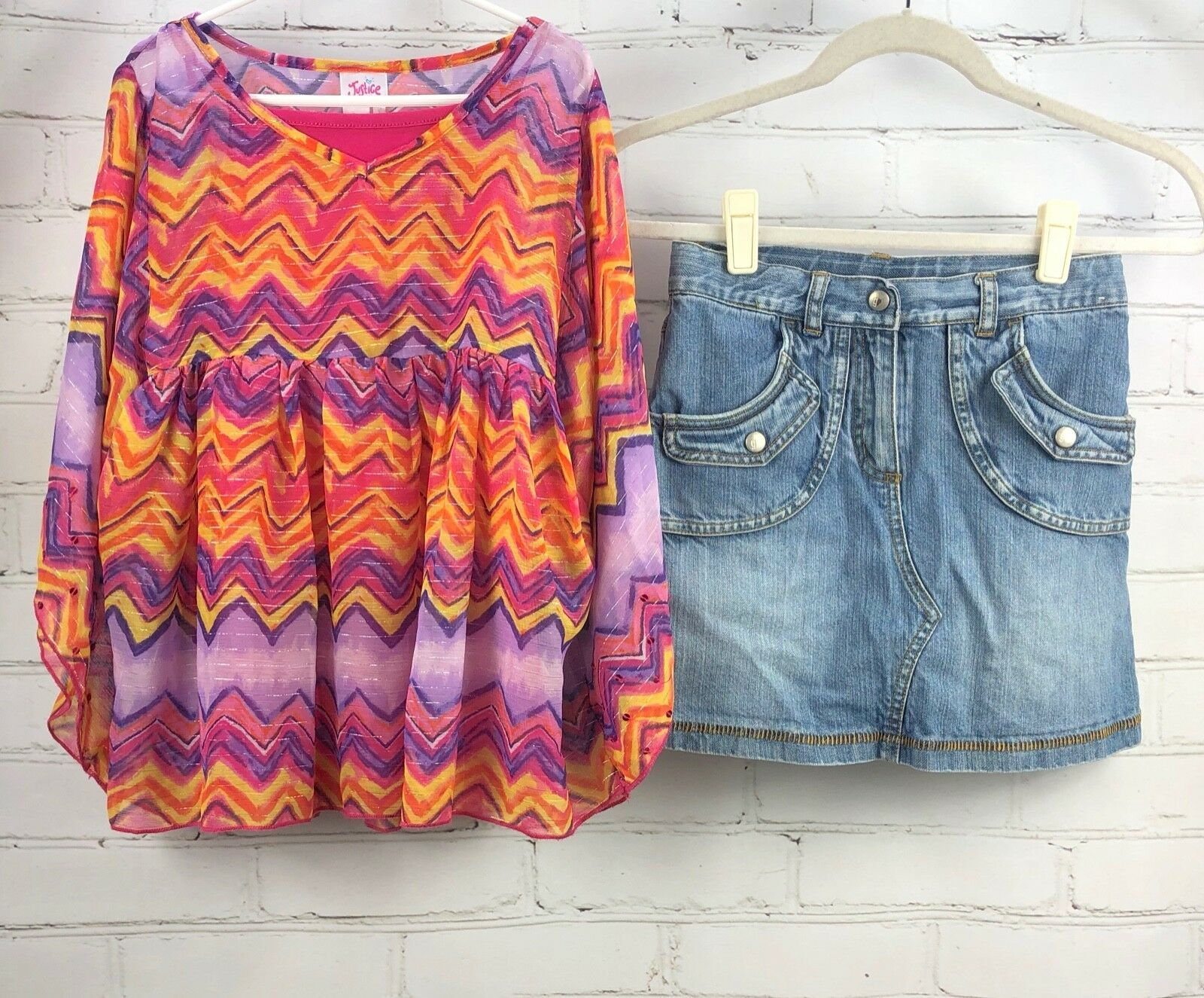 Primary image for Justice Outfit Set - Boho Flowing Loose Poncho Top + Jean Skirt Skort Sz 10