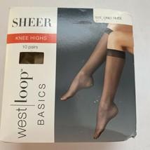 west | loop Size 1 One Nude Basics Sheer Knee Highs 10 Pairs - $8.86