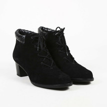 VINTAGE Bottega Veneta Black Suede Intrecciato Lace Up Ankle Boots SZ 9 B - $210.00