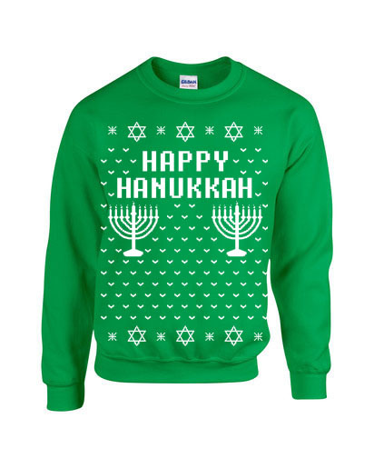 HAPPY HANUKKAH Ugly Christmas Sweater Funny Unisex Sweatshirt B109