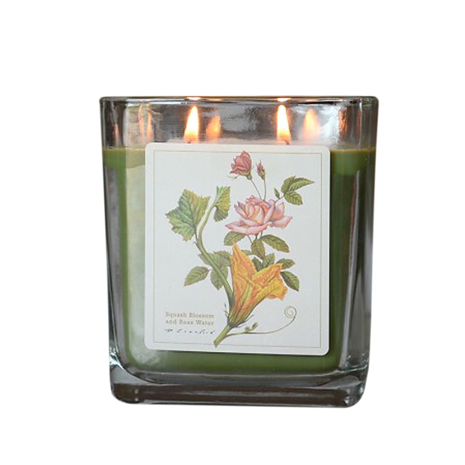 Squash Blossom w Rose Water Hand Poured Verdure Gift Boxed Soy Candle USA made