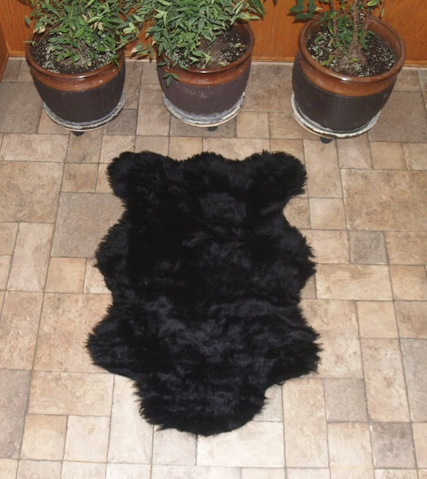 Black faux bear rug view2