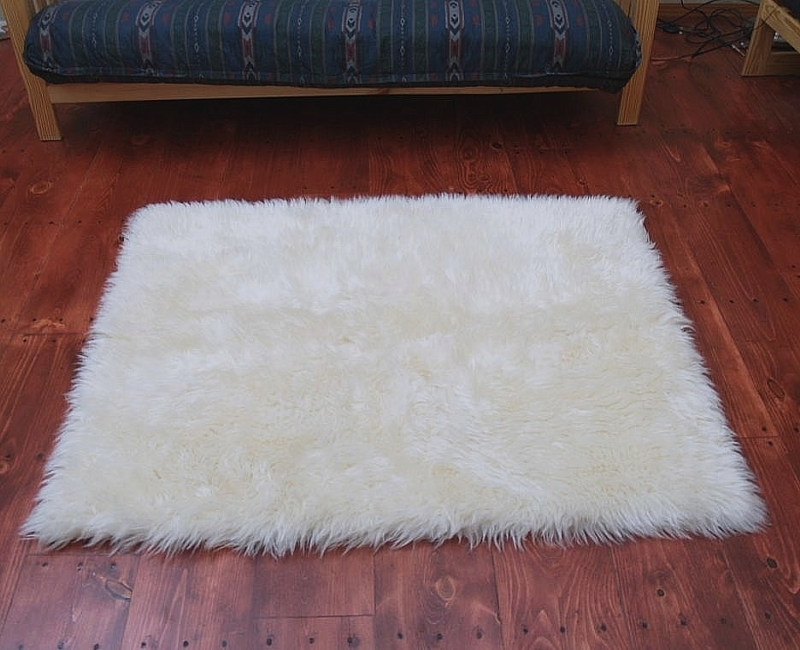 Faux Fur Area Rug Ivory Large