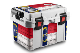 Skin Wrap 24Mil Sticker Decal L+I for PELICAN 20QT Cooler NC FLAG WOOD - $36.95