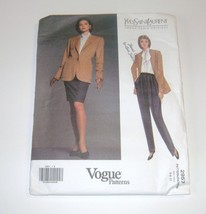 Vogue 2957 Jacket Pants Skirt Pattern Uncut Misses 6 8 10 Yves St Laurent - $11.99