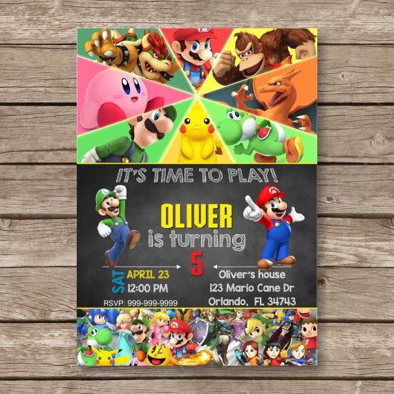 Super Mario Luigi Digital Invitation Super and 50 similar items