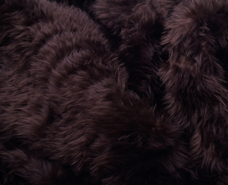 Faux Fur Area Rug Dark Brown Small