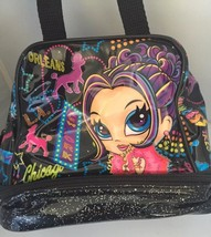 LISA FRANK Lunch Tote Bag Glamour Girl Hollywood Insulated 2Zipper 2Comp... - $18.69