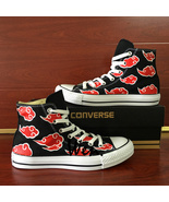 Anime Red Cloud Naruto Akatsuki Converse All Star Hand Painted Shoes Unisex - $129.00