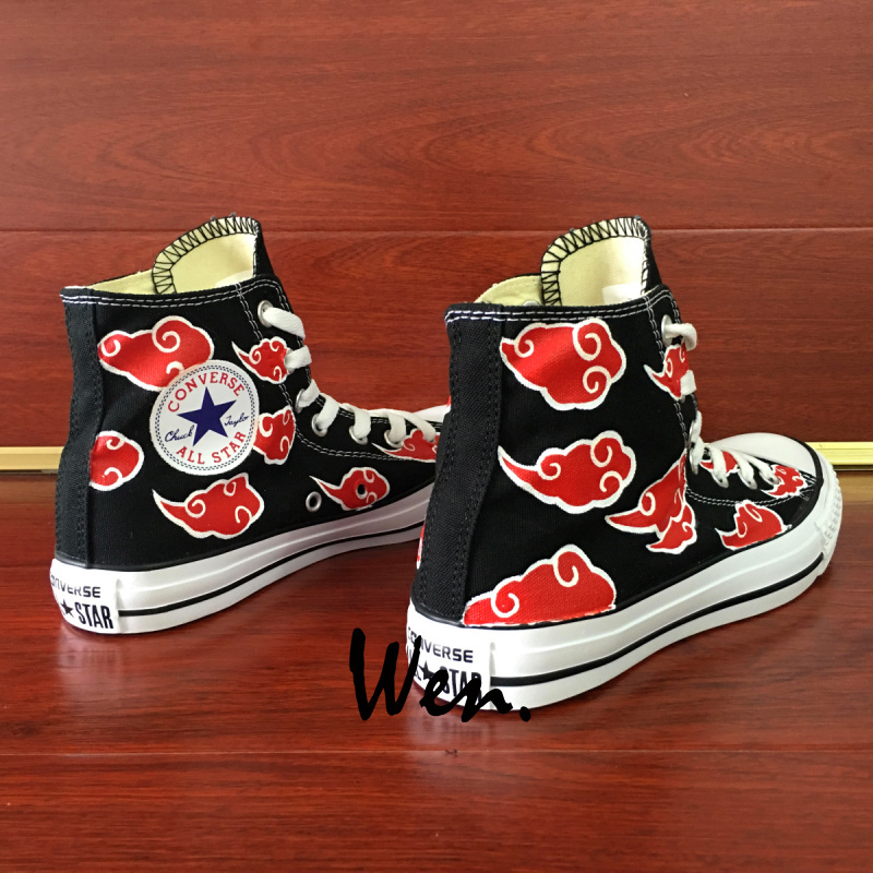 Anime Red Cloud Naruto Akatsuki Converse All Star Hand Painted Shoes Unisex