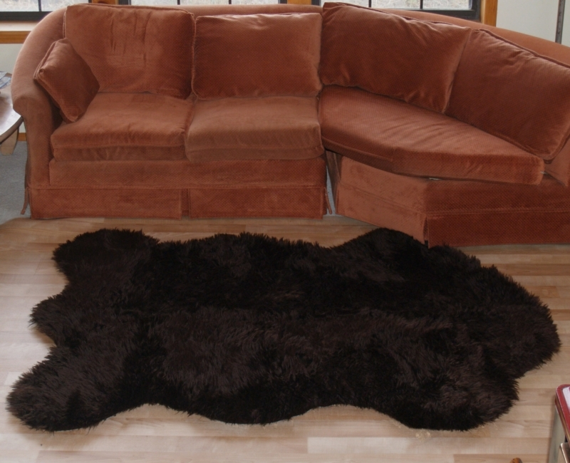 Fake faux fur russian brown bear rug