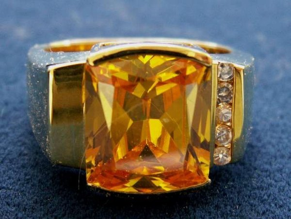 Primary image for STERLING VERMEIL LEMON CRYSTAL FACETED RETRO RING