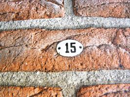 Vintage House address number 15 plaque Enamel s... - $16.90