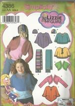 Simplicity Lizzy Pattern #4386-Child's Fleece Shrug-Capelet-Scarf-Hat   ... - $2.95