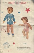 Vintage Knitting Pattern-Knit O Graf-Raglan Sleeve Lamb Suit-1-2-4 - $4.95