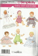 Simplicity Pattern #2704 Baby Doll Wardrobe  S-M-L - $4.95