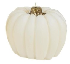 Small White Molded Pumpkin Candle