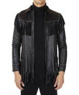 Men Western Leather Jacket Wear Fringes Beads Native American Cowboy Coa... - $189.99