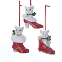 KURT S. ADLER SET OF 3 WHITE KITTENS IN SHOES CHRISTMAS ORNAMENTS - $26.88