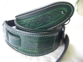 Green Celtic Design Real Leather Guitar Strap - $39.59