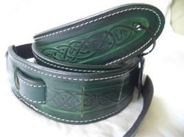 Green Celtic Design Real Leather Guitar Strap - $40.92