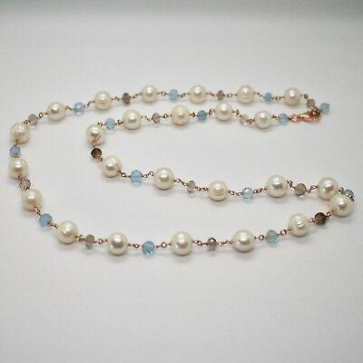 925 Sterling Silver Necklace Gold Foiled Pink & Pearls Quartz & Aquamarine