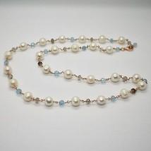 925 Sterling Silver Necklace Gold Foiled Pink & Pearls Quartz & Aquamarine image 1