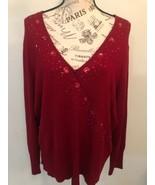 MERONA Women's Red Pepper Rhinestones Sweater Long Sleeve  Plus Size XXL - $0.98
