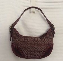 Coach 6351 Burgundy Red Small Hobo Purse Handbag C Print - ₹3,243.89 INR