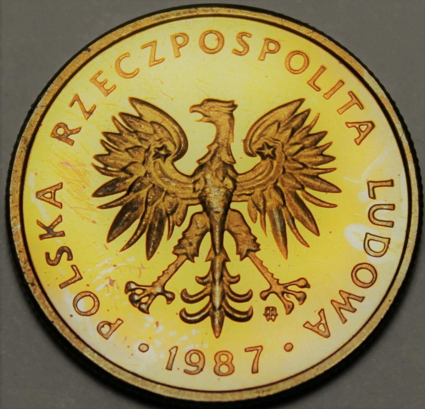 Primary image for Poland 2 Zlote, 1987 RARE Proof~Eagle With Wings Open~5,000 Minted