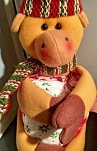 Stuffed Reindeer Holding 3 Holiday Christmas Kitchen Towels 11 inches Tall - $14.85