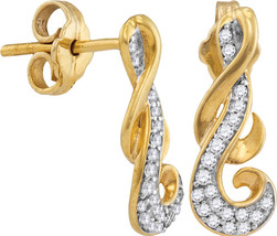 10kt Yellow Gold Womens Round Diamond Cluster Curled Screwback Earrings ... - $149.99