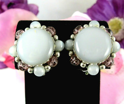 STAR Gray Moonglow & Purple Clip On EARRINGS Vintage Thermoset Silverton... - $12.99