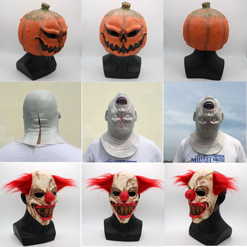 Scary Clown Mask Halloween Latex with Red Hair Evil Horror Fancy Dress Accessory - $9.99