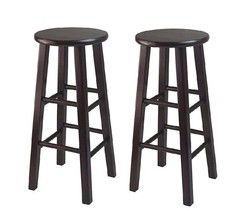 "Bar Stools Set of 2 Counter Height, 29"" Inches Black Wooden Winsome Kitc... - $69.99"