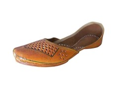 Women Shoes Indian Traditional Handmade Leather Brown FlipFlops Jutti US 5.5-8.5 - $32.99